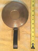 Vintage Brass Bed Warmer Pan with Wooden Handle/Felt Bottom
