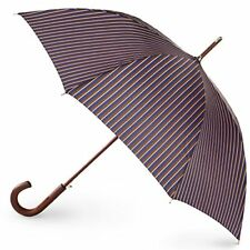 Totes Blue Line Auto Wooden Stick Umbrella Mens Stripe One Size New