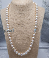 "baroque 22"" AAA 9-8 MM SOUTH SEA NATURAL White PEARL NECKLACE 14K GOLD CLASP"