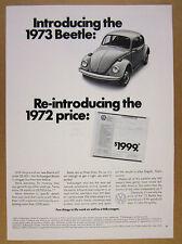 1973 Volkswagen VW Beetle $1999 price bug car photo vintage print Ad