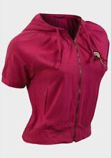 New Womens/Girls Cropped Short sleeve Pink Hooded Jacket Cardigan Size 12