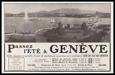Publicité GENEVE Suisse Tourisme Lac vintage ad  1923 -2i