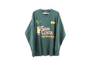 Vintage 90s Mens Large Sam Costa Half Marathon Road Race Long Sleeve Shirt Green