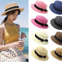 Fashion Women Girl Child Boho Straw Boater Sun Hat Bow Flat Wide Brim Beach Cap