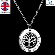 Silver Tree of Life Charm Forever in my Heart Necklace Pendant Sterling 925 UK