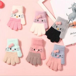 Soft Knitted Thermal Gloves Kids Gloves Full Finger Mittens Children's Gloves