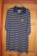 Reebok Size XL Indianapolis Colts Polo Shirt Navy Blue White Stripes Play Dri