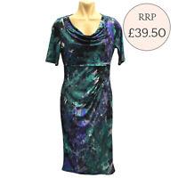 Ex M&S Green/Purple/Black Floral Print Cowl Neck Side Drape Dress RRP £39.50
