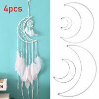 4Pc/Kit Metal Half Crescent Moon Steel Dream Catcher Macrame Craft Hoop DIY Gift