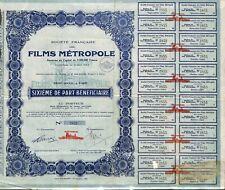 SCRIPOPHILIE / STE DES FILMS METROPOLE / ACTION BOURSE / CINEMA MOVIE