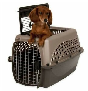 Petmate 2-Door Top-Load Kennel White/Brown 19 inch (Small) Pet up to 15 lbs New