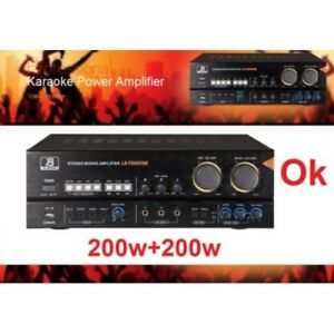 NEW 200Wx2 PROFESSIONAL KARAOKE AUDIO MIXING AMP USB & BLUETOOTH LIGHT AMP