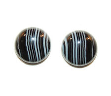 Black and White Striped Agate 12mm with 5mm dome Cabochons Set of 2 (11752)