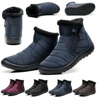 Womens Winter Warm Fur-lined Ankle Snow Boots Slip On Waterproof Warm Shoes