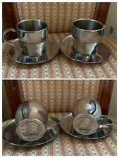 18/10 Stainless Steel Set Of Two Coffee Cups With Saucers Quality RRP£69 VGC