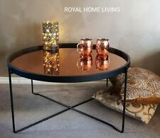 NEW ROUND COFFEE TABLE GLASS TOP BLACK