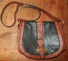 FOSSIL Brand BLACK & BROWN LEATHER Shoulder or CROSS BODY BAG