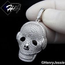 MEN 925 STERLING SILVER LAB DIAMOND BLING SILVER SKULL HEAD CHARM PENDANT*SP187