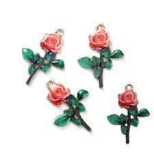 4 x Red Rose enamel Charms HOMOLOGUE Alice in Wonderland-Belle