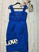 Condici Size 12 blue beaded pure silk fitted pencil wedding guest races dress VG