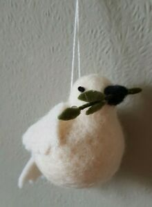 Hanging Felted Wool Dove with Olive Branch Peace & Love Bird Hanging Decoration