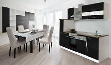 Cuisine Équipée Kitchenette Complet 250 cm Blanc Noir respekta