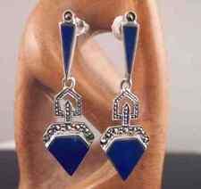 Blue Lapis & Marcasite Argento Sterling Art Deco Stile Orecchini Pendenti