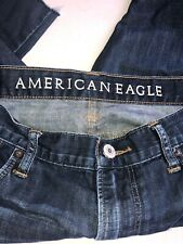 mens american eagle jeans 36w30L From Crotch Low Rise Boot Raw HemDark Wash