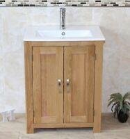 Solid Oak Bathroom Vanity Cabinet    Sink Bathroom Unit   Ceramic Inset Basin
