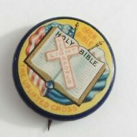 Vintage Holy Open Bible Rally Day THe Uplifted  Cross Life, Light, Power Pinback