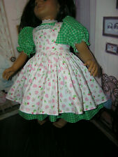 "Green Dress Heart Flower Print Apron 2 piece Dress 23"" Doll clothes fit My Twinn"