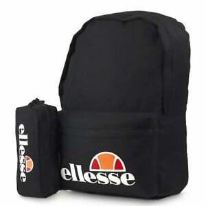Ellesse Rolby  Pencil Case Set in Black Sports Backpack Gym School Bag