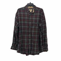 Woolrich Mens Flannel Button Front Shirt Black Plaid Cuff Long Sleeve Pocket M