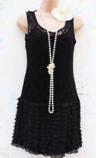Atmosphère Taille 6 8 20 S Charleston Garçonne style dentelle noire robe 2 US 4 EU 36