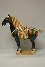Dark Blue Chinese Ceramic Tang Dynasty Horse Figure Statue Feng Shui Decor TM-01