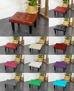 PU Leather Button Top Foot Stool Seat Footrest Footstool With Rustic Look legs