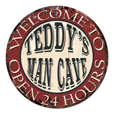 CPM-0505 TEDDY'S MAN CAVE OPEN 24hrs Chic Tin Sign Man Cave Decor Gift