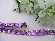 Purple/Gold Hologram Sequin Braid Lace Trim Dance Tutu #2PK100C 1 METRE