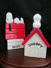 Snoopy Lot of 2 - Dog House Planter and Tray