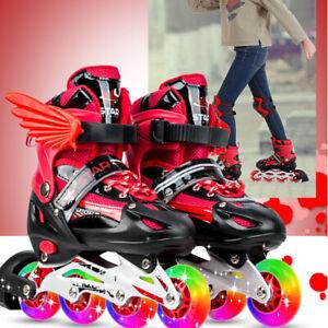 Breathable 4 Wheel Kid Boy Girl Adjustable Quad Roller Skates Boots Shoes ABEC 7