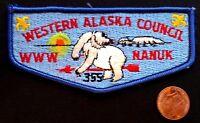 NANUK LODGE 355 OA WESTERN ALASKA COUNCIL AK PATCH  BLUE POLAR BEAR FLAP