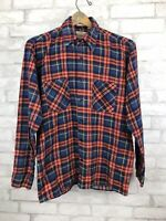 Vintage Saugatuck Blue Orange Red Plaid Flannel Shirt Button Down Size Medium