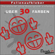 "2er SET - ""FUCK YOU"" Smilie Shocker Aufkleber Auto/Motorrad - 30 Farben - 18cm"