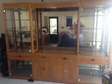 China cabinet  wall unit  contemporary  oak & glass  5 piece  Thomasville