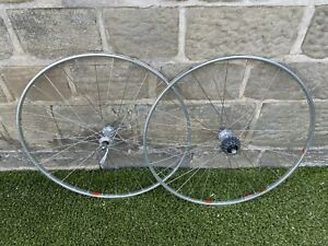 Vintage Wheels Pair Campagnolo Record Crono Rims Victory Hubs 32h O/Skewers