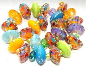 "Sistersbeads ""H-Tequila Sunrise"" Handmade Lampwork Beads"