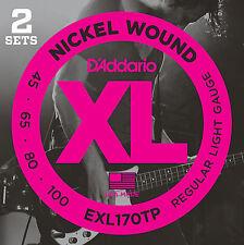 D'Addario EXL170TP Nickel Wound Bass Guitar Strings, Light, 45-100, 2 Sets, Long
