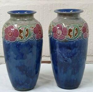 Pair of Vintage Royal Doulton Art Nouveau Vase Violet Hayward 1920's