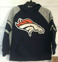 Denver Broncos NFL Team Apparel Navy Kids Fleece Hoodie Size Small(4) NWT