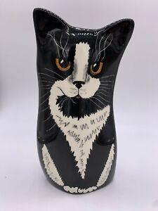 "Cats By Nina Ceramic Tuxedo Cat Nina Lyman Feline Vase White Black Planter 7.5"""